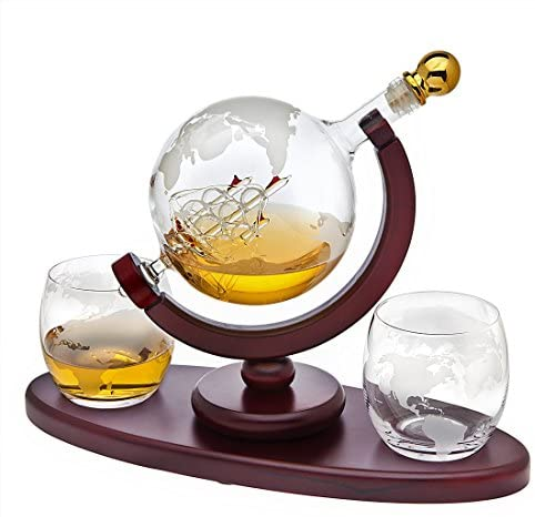 Whiskey Decanter Globe Set with 2 Etched Globe Whisky Glasses – for Liquor, Scotch, Bourbon, Vodka – 850ml
