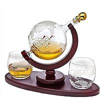 Godinger Whiskey Decanter Globe Set with 2 Etched Globe Whisky Glasses