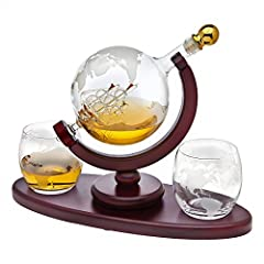 Whiskey decanter globe set with 2 etched globe whisky glasses - for Liquor, Scotch, Bourbon, Vodka, Wine, Water, Juice, Iced Tea or any beverage - 850ml
