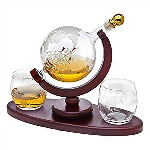 Whiskey Decanter Globe Set with 2 Etched Globe Whisky Glasses – for Liquor, Scotch, Bourbon, Vodka – 850ml