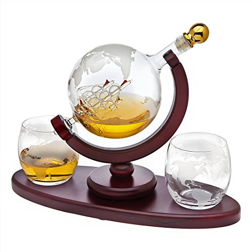 Whiskey Decanter Globe Set with 2 Etched Globe Whisky Glasses - for Liquor, Scotch, Bourbon, Vodka - 850ml - Art Glass Stained Tray