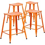 "Flash Furniture 4 Pk. 24"" High Orange Metal Indoor-Outdoor Counter Height Saddle Comfort Stool For Sale"