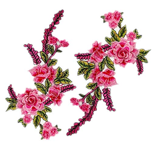 2Pcs 3D Floral Lace Embroidery Applique Flowers Lace Patches Cord Fabric Scrabooking Patch Sewing for Dress Decorated Craft (Pink)