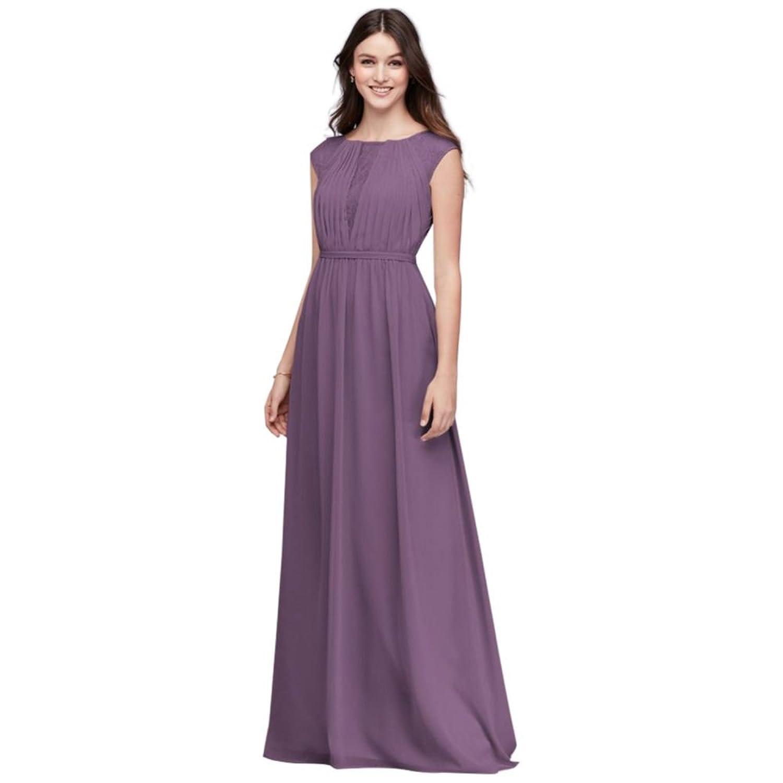 David\'s Bridal Chiffon Bridesmaid Dress with Chantilly Lace Inset ...