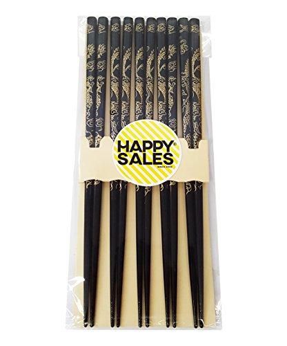 - Happy Sales HSCH30, Imperial Dragon 5 Pairs Japanese Design Chopsticks set Gold Black