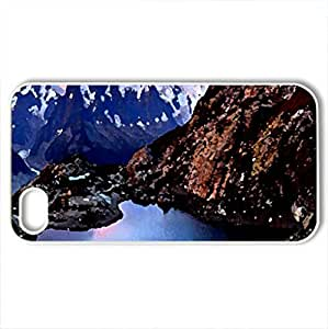 ALPS SUNRISE - Case Cover for iPhone 4 and 4s (Mountains Series, Watercolor style, White)