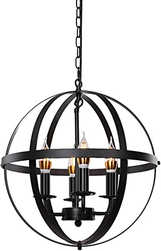 Lika 4-Light Chandeliers 15.8 Rustic Farmhouse Black Pendant Light with Industrial Metal Spherical Shade for Kitchen Island, Dining Room, Farmhouse, Foyer