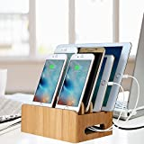 Cord Organizer, Maxnic Bamboo Stand Multi-device Desktop Cords Organizer Dock Charging Station Holder with Built-in Insert Slots for Smartphones, Tablets and Laptops
