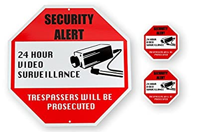 New Video Surveillance Security Signage Bundle (3-Pack) Outdoor Aluminum Security Sign for Home Business Industrial & 2 Indoor Outdoor Vinyl Decals Weather, UV, Rust Resistant No Trespassing By KLT from KLT