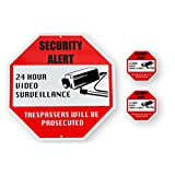 New Video Surveillance Security Signage Bundle (3-Pack) Outdoor Aluminum Security Sign for Home Business Industrial & 2 Indoor Outdoor Vinyl Decals Weather, UV, Rust Resistant No Trespassing By KLT