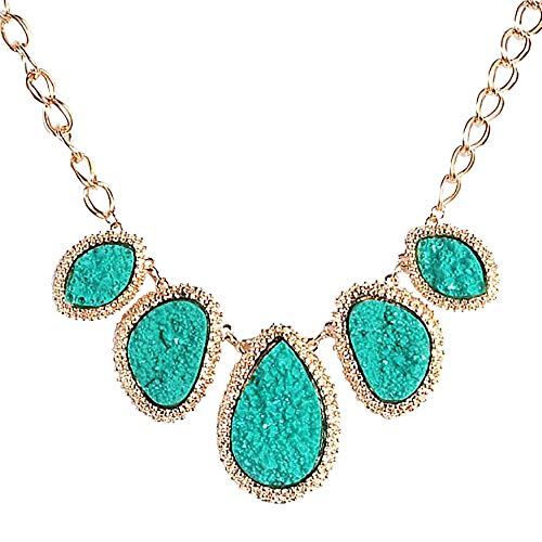 JANE STONE Bubble Bib Chunky Necklace Fashion Jewelry Statement Necklace Party Jewelry(Fn0564) (Dark Green) ()