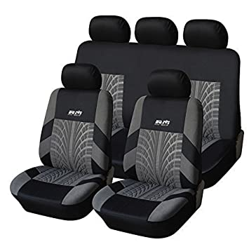 CL1004C4G51 Carline Tire Track Fabric 2 Front Car Seat Covers Compatible to Jeep Grand Cherokee Cherokee Renegade Wrangler Unlimited Wrangler Compass Patriot 2017-2007