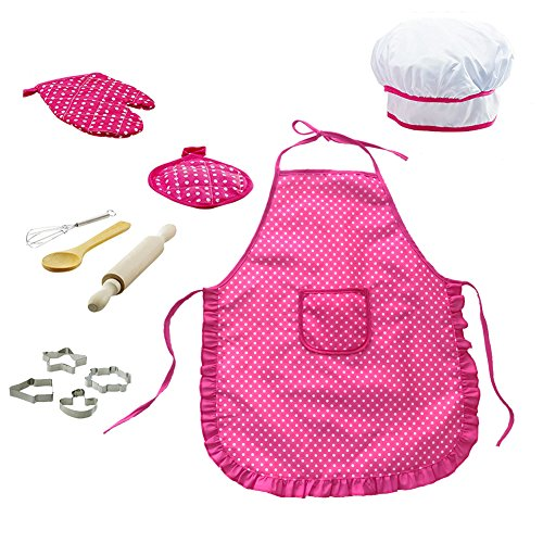 11 PCS Chef Set for Kids Kitchen Gift Playset with Apron,Chef's Hat, Cooking Mitt & Utensils for Toddler Career Role Play Children Pretend Play Cooking Play Set for Boys & - Pink Apron Gift Set