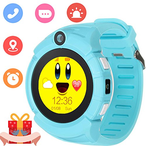 Kids Smartwatch with GPS Tracker Phone Remote Monitor Camera Touch Screen One Game Anti Lost Alarm Clock App Control by Parents for Children Boys Girls Compatible with Android iPhone (03 - Water Mobile T Tower