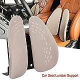 Qiilu Car Seat Lumbar Support Ventilative Seat Waist Cushion For Offices Home Cars Black/Beige(Beige)