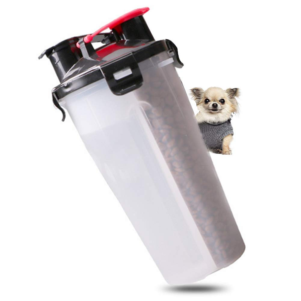 Portable Dog Water Bottle,2 in 1 ABS Pet Folding Feeder Dogs Feating Water Food Outdoor Travel Pet Bowl Water