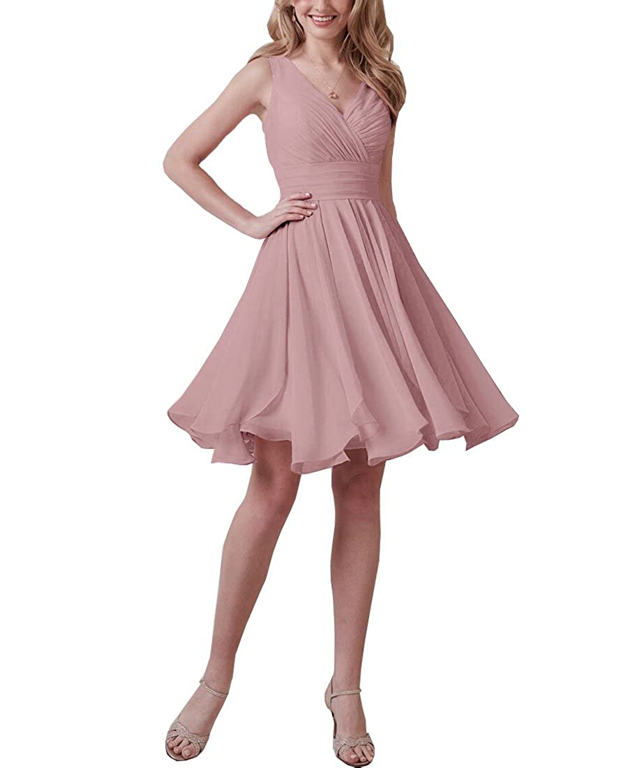 Now and Forever Womens V-Neck Bridesmaid Dresses Short Pleated A-line Chiffon Formal Evening Gown