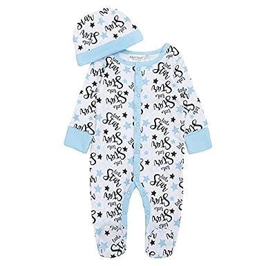 Baby Boys//Girls Little Star Sleepsuit Hat or Headband Set Sizes from Newborn to 6 Months