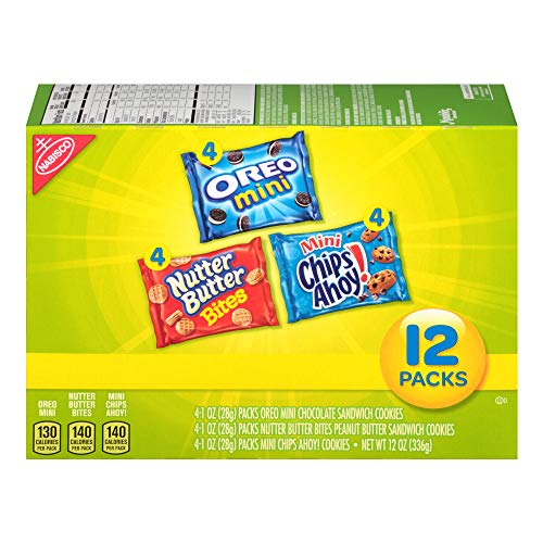 Nabisco Butter Cookies - Nabisco Mini Cookies Variety Pack with Oreo Mini, Mini Chips Ahoy! & Nutter Butter Bites, 12 Count Individual Snack Bags