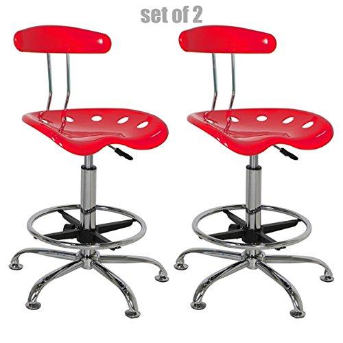 Modern Slick Design Vibrant Color Seat Adjustable Bar Stools Swivel Drafting Dining Chair Durable Chrome Footrest - Set of 2 Red (Logo Steel Bar Stool)