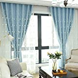 Didihou Embroidered Voile Mix Match Blackout Curtain Double Layer Darkening Thermal Insulated Window Treatment Grommet Drapes for Living Room Girls Bedroom, 1 Panel (52×84 Inch, Blue) Review