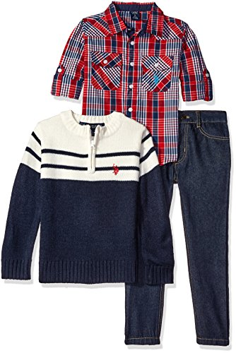 U.S. Polo Assn. Little Boys' Plaid Sport Shirt, 1/4 Zip Mock Neck Collar Color Blocked Sweater and Denim Jean, Red Combo, 4