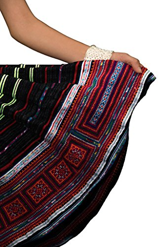 Interact Vestido Tribal Bordada Falda 100 115 Hmong Plisada China Artesanía Vintage Algodón 1UWq1arH