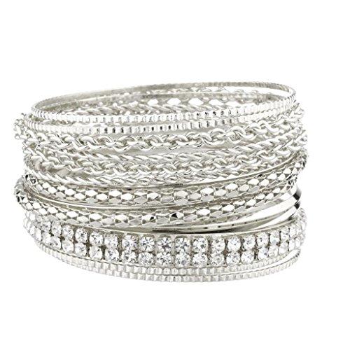 Multi Bangle Set - Lux Accessories Pave Chain Link Mesh Multi Bangle Bracelet Set.