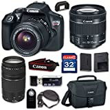 Canon EOS Rebel T6 Digital SLR Camera with EF-S 18-55mm f/3.5-5.6 IS II, EF 75-300mm f/4-5.6 III - Built-in WiFi and NFC with 32GB Class 10 Memory Card, Wireless Remote & 100ES Shoulder Bag