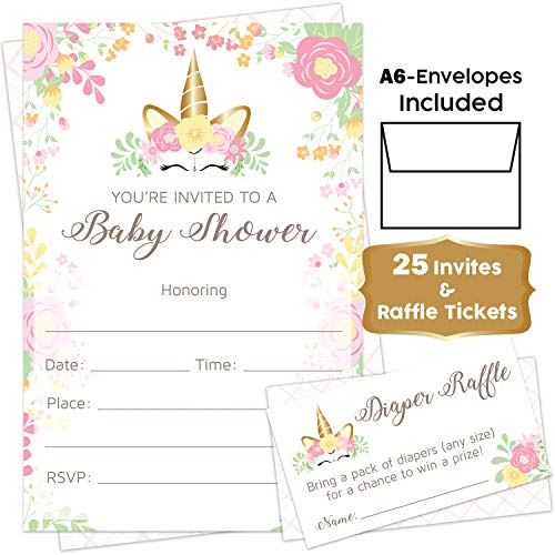 Unicorn - Baby Shower Invitations Girl with Envelopes and Diaper Raffle Tickets Included. Set of 25 Unicorn Floral Fill in The Blank Style Baby Shower Invitations for Girl - Pink Flowers Unicorn -