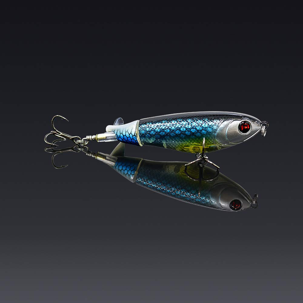 GUFIKY 10-Pack Whopper Plopper Fishing Lures 4.13 inch/0.6 oz with Rotating Spins Tail for Bass,Trout ,Walleye,Pike and Musky Topwater Floating Hard Baits Swimbaits with Barb Treble Hooks by GUFIKY (Image #3)