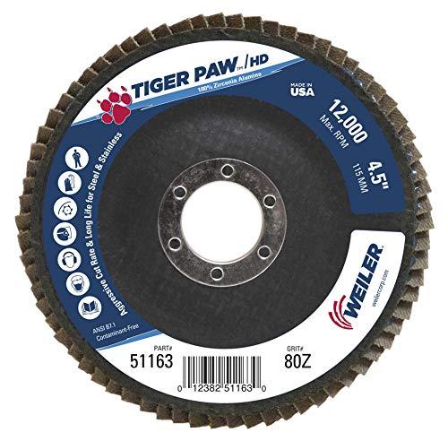 (Weiler 51163 Tiger Paw XHD Super High Density Abrasive Flap Disc, Type 27 Flat Style, Phenolic Backing, Zirconia Alumina, 4-1/2