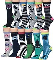 Tipi Toe Women's Fashion Novelty Animal Characters Cartoon Cat Panda Penguin Crew Socks