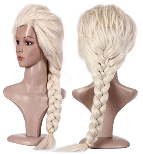 Anogol Hair Cap+Blonde Cosplay Wig Party Braid Hair Wigs for Costume Halloween