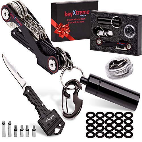 Compact Key Organizer by keyXtreme | Comfortable Key Holder with Round Edges & Improved Anti-Loosening System | Smart Keychain with 10+ Tools Included (Folding Knife Key & More) up to 36 Keys (Black)