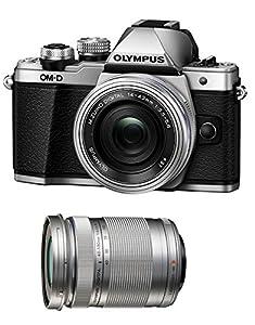 Olympus OM-D E-M10 Mark II Mirrorless Micro Four Thirds Digital Camera with 14-42mm EZ Lens [Silver] & Olympus M.Zuiko Digital ED 40-150mm f/4.0-5.6 R Lens [Silver]