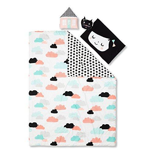 South Shore Four (South Shore Dreamit Night Garden Twin Comforter Set and Throw Pillows, Black/White, 4 Piece)