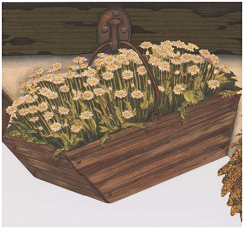 Hanging Baskets with White Flowers BlackBerry Farmhouse Wallpaper Border Retro Design, Roll 15' x ()