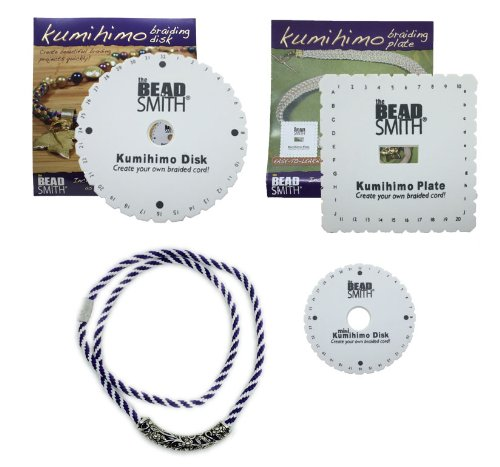 Kumihimo Disks Set of Three Different Looms (Round, Square Plate, Mini) PLUS Complete Necklace Kit ()