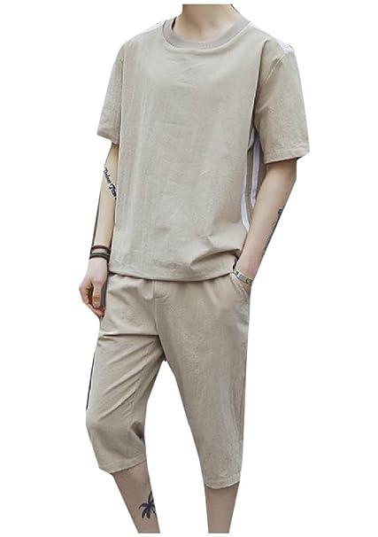 Andopa La mitad de mangas y cuello corto pantalones de color ...