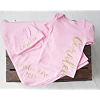 Personalized Baby Girl Light Pink Gown Blanket and Hat Set