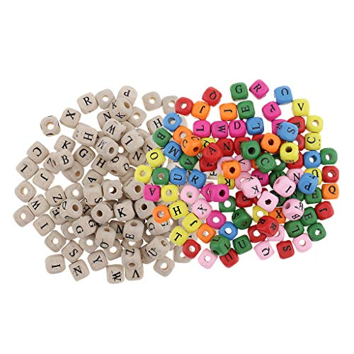 Beads Mini Cube (200x Assorted Mini Wooden Alphabet Letter Cube Beads for Jewelry Making 10mm)