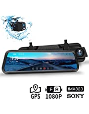 """Dash Cam, DuDuBell 10"""" Mirror Dash Cam, SONY IMX323 Dual Dash Cam (1080P + 1080P) with Starlight Night Vision (F1.4 Aperture, HDR Plus), GPS Included, IPS Touch Screen, IP68 Backup Camera"""