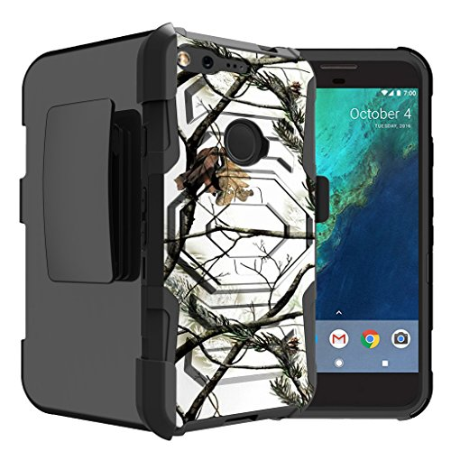 Untouchble Case for Google Pixel XL Camo Case, Pixel XL Case [Max Alpha Holster] Combat Holster Heavy Duty Clip Case Dual Layer Technology and Kickstand - Snow Hunt Camo ()