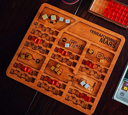 Smonex 5 Wood Player Boards Compatible with Terraforming Mars Board Game - Gaming Organization with Player Trays Suitable for All Terraforming Mars Expansions