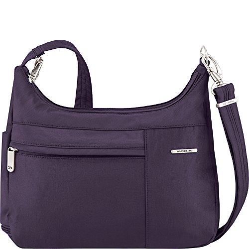 Gray Theft Medium Crossbody Travelon Double Purple Interior Anti Welted Zip q5wF86