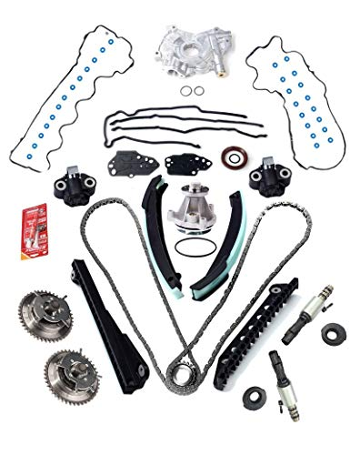 3-Valve Timing Chain Kit Cam Phaser & VVT Valves Water Pump Timing Cover Gaskets With Tensioner (Left & Right Upper) For 2004-2011 Ford Expedition F-150 F-250 F-350 2005-2010 Lincoln Navigator Mark 5.