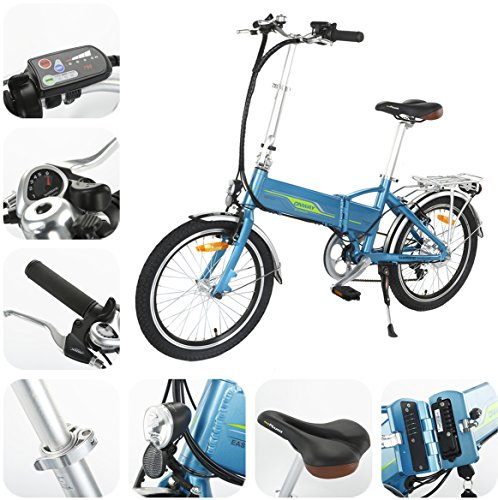 ONWAY 20 Inch 6 Speed Folding Electric Bicycle, Built in Lithium Battery, 250W Brushless Motor, Blue