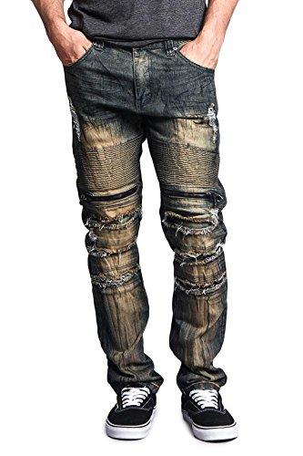 G-Style USA Men's Zipper Cut Grease Wash Biker Jeans DL1054 - ZIPPER CUT VINTAGE - 34/32 - H8F (Vintage Jean Wash Twill)