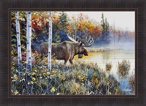 Master Of His Domain by Jim Hansel 24x33 Bull Moose Lake Wildlife Framed Art Print Wall Décor Picture